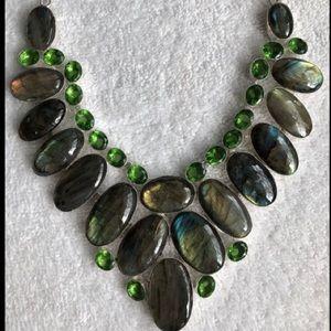 Labradorite and Peridot Silver Necklace